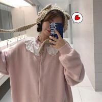 ins网红毛衣女秋冬2018新款韩版宽松慵懒风蕾丝娃娃领针织衫外套