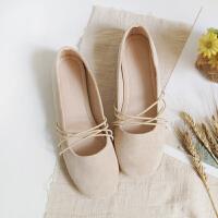 网红鞋子女秋新款复古玛丽珍平底鞋绑带仙女温柔单鞋芭蕾舞鞋