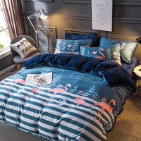 A纯棉B珊瑚绒四件套冬季被套床单床上用品三件套