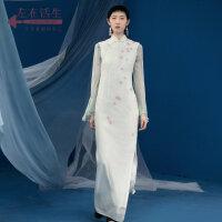 生活在左2018秋季新款无袖气质改良版修身旗袍女装中国风端庄大气