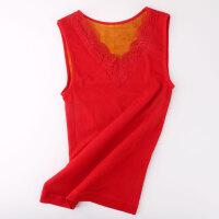 刺绣V领加绒背心女冬季加厚保暖性感内穿修身塑身无袖打底上衣潮