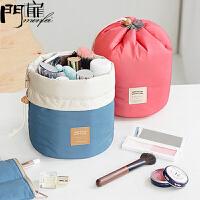 门扉 收纳袋 创意韩版束口设计圆筒旅行洗漱包化妆品袋家居日用多功能大容量整理储物包