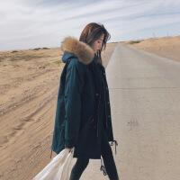 工装女中长款韩国2018新款冬季棉衣宽松bf 加厚ins羽绒衣外套