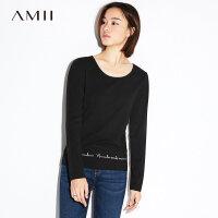 【AMII大牌日 2件4折】Amii极简小清新韩版长袖T恤女2018秋新款大码圆领打底衫印花上衣