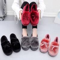 秋冬季厚底棉拖鞋女士居家木地板全包跟月子鞋保暖韩版加绒毛毛鞋