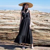 原创海边度假沙滩裙泰国旅行高腰V领显瘦小黑裙性感露背吊带连衣裙夏GH032 黑色