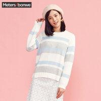 美特斯邦威毛衣女小清新冬装纯棉圆领条纹甜美针织线衫款韩版潮