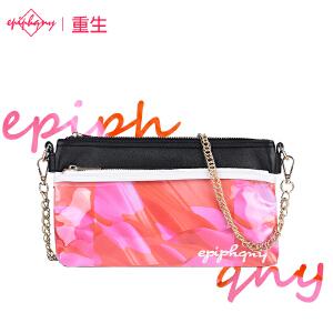 【支持礼品卡支付】Epiphqny重生甜美淑女红色印花pu银色手拿包时尚链