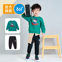 【开学季到手价:189.5】361度童装 男小童套装2020春秋新款儿童趣味图案针织套装休闲套装