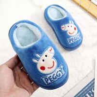 小猪佩奇冬儿童棉拖鞋男童卡通小中大童包跟防滑棉鞋女童宝宝拖鞋