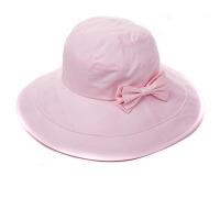 女夏天骑车折叠遮阳帽大沿防晒帽蝴蝶结太阳帽