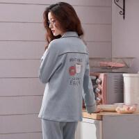 睡衣女秋长袖韩版清新学生甜美可爱可外穿纯棉两件套装家居服大码 (长袖)1705蓝色面包杯子