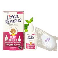 美国直邮 Little remedies 婴幼儿小鼻子盐水滴鼻剂喷剂+吸鼻器0.5 FL OZ/15ml 海外购
