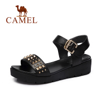 【每满200减100】camel骆驼女鞋 春夏新品 休闲轻便女鞋潮厚底真皮铆钉凉鞋