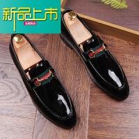 新品上市英伦小皮鞋男士红色漆皮休闲鞋夜店潮流鞋内增高型师尖头鞋