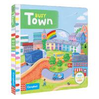 【首页抢券300-100】Busy Town 忙碌系列纸板机关书 城镇 机关操作书3-6岁 儿童英语互动故事绘本 英文原