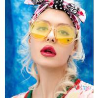 时尚百搭防紫外线炫彩反光 太阳镜女潮 大圆框墨镜 支持礼品卡