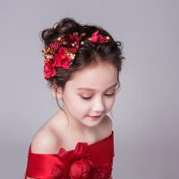 儿童头饰女童公主发饰红色发箍花童头饰立体花女头花