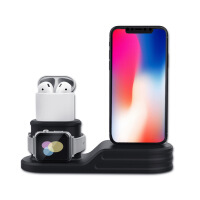 适用苹果iphone手机手表耳机三合一充电支架底座硅胶iwatch充电座