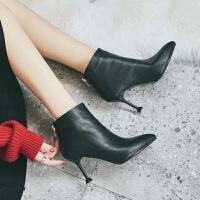 高跟鞋女冬短靴细跟2019新款韩版百搭尖头小跟裸靴女士单靴瘦瘦靴
