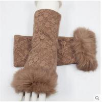 冬季可爱半截露指女士手套无指蕾丝兔毛口保暖羊毛手套
