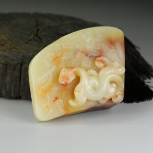 寿山老性芙蓉石 精雕螭虎手件 把玩件 jd126