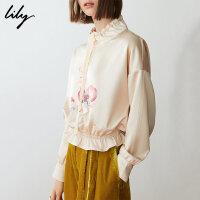 【超品秒杀价:169元】 Lily春新款女装复古印花高领收腰修身长袖套头衫119110A8207