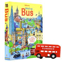 Usborne Wind-up Bus 发条公交车 四条轨道跑跑乐地板玩具书 3~6岁英语纸板书 儿童英文原版图书进口