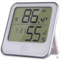 得力8959电子温湿度计办公家用室内闹钟电子高精度温度计台式挂式