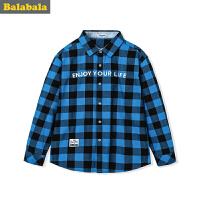 巴拉巴拉童装男童衬衫长袖 纯棉秋装2017新款中大童长袖衬衣儿童