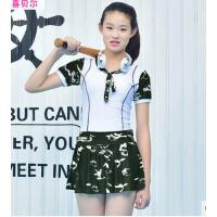 儿童泳衣女童童泳衣儿童游泳衣分体连体中大童裙式韩国可爱女孩女 可礼品卡支付