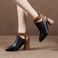 乌龟先森 高跟鞋 女士冬季新款鞋子粗跟绒面短靴子女式加厚保暖兔毛马丁靴韩版时尚皮质学生女鞋