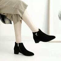 舒适好看!时尚新品短靴女秋冬新款裸靴平底及踝靴加绒马丁靴粗跟尖头平跟磨砂女靴子青春靓丽