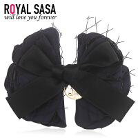 皇家莎莎RoyalSaSa韩版布艺蝴蝶结发夹弹簧夹盘发手工蕾丝发卡子头饰品发饰