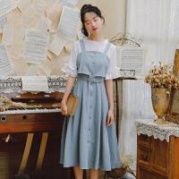 裙子女学生韩版修身显瘦连衣裙2019秋装女潮背带裙子吊带长裙中袖无袖 灰蓝色 单吊带裙
