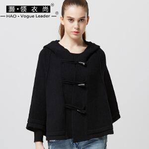 复古连帽针织衫开衫短款加大加宽牛角扣宽松大码羊毛斗篷针织外套