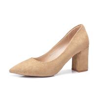 camel 骆驼女鞋 2018春季新品 优雅尖头高跟鞋女舒适绒面粗跟单鞋