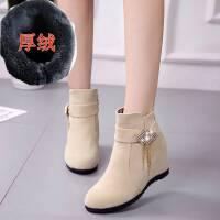 2019新款女靴子百搭内增高中筒靴平底磨砂加绒坡跟短靴秋冬马丁靴