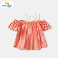 【1件3折】马卡乐童装22夏新款女宝宝时尚甜美露肩格子拼接上衣