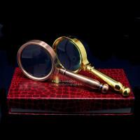 OUJIN 复古式高档镀金放大镜 10倍读书看报阅读珠宝鉴定金属放大镜 超好手感手持礼品放大镜