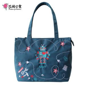 花间公主Robot2018刺绣文艺托特单肩牛津纺帆布尼龙女包包