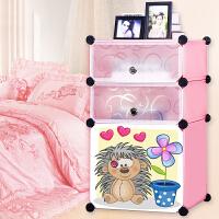 御目 床头柜 简易床头柜塑料现代组装简约儿童衣柜迷你小收纳储物柜子组合衣柜 创意家具