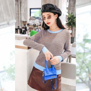 七格格套头针织衫秋装女2018新款圆领短款修身韩版上衣撞色毛衣冬