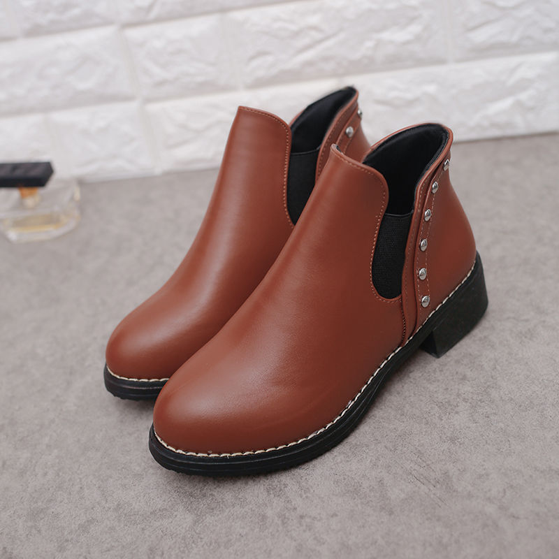 春秋鞋子女韩版粗跟女士短靴及裸靴新款马丁靴休闲百搭平底圆头鞋