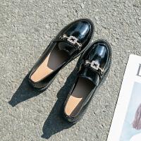 2019新款乐福鞋子韩版水钻扣漆皮深口圆头低跟单鞋小皮鞋女鞋春季 35 女款