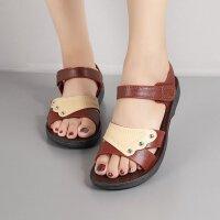 夏季新款凉鞋平跟软底中老年女鞋平底中年孕妇老人凉鞋女凉拖