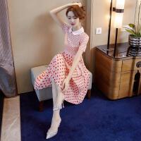 2019娃娃领印花连衣裙夏季仙女超仙甜美红色爱心雪纺百褶裙子 粉色