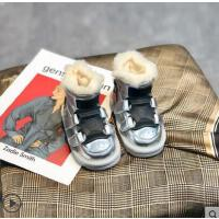 小童皮毛一�w防水雪地靴男童加�q加厚�和�保暖大棉鞋冬季����鞋子