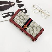 女士钱包2018新款欧美印花长款折叠钱夹两件套手拿包多卡位皮夹