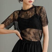 短袖蕾丝上衣女夏网纱打底衫性感时尚百搭仙气质洋气小衫